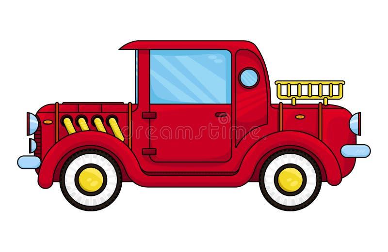 红色老汽车,传染媒介例证 向量例证