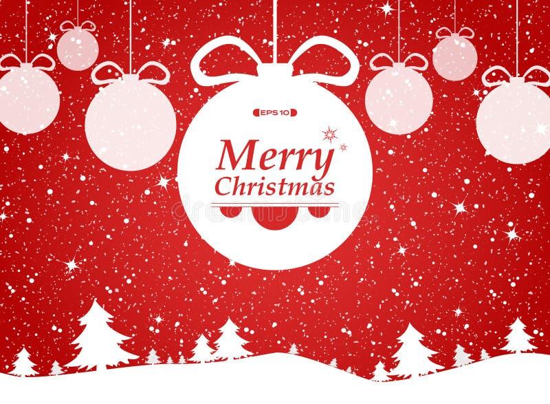 红色背景圣诞快乐在森林和雪礼物的 免版税库存照片