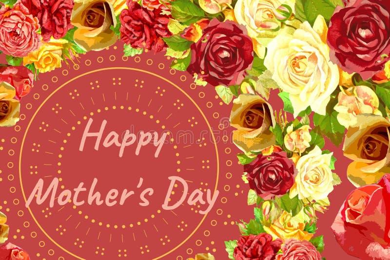 红色背景玫瑰和圆形的母亲日概念图 库存例证