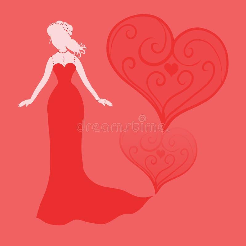 红色背景的典雅的夫人与被仿造的心脏 皇族释放例证