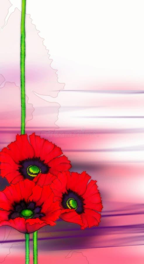 红色背景的鸦片 免版税图库摄影