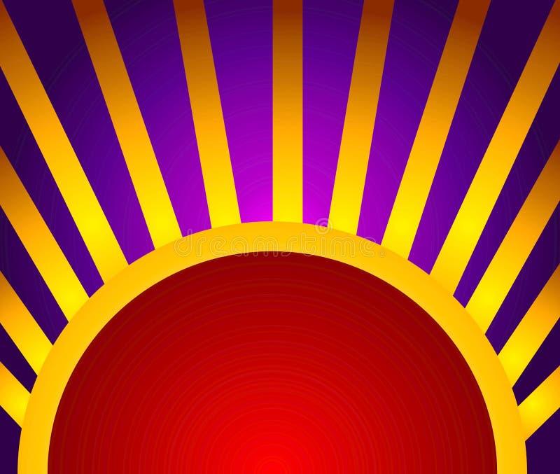 红色背景金的光线 向量例证