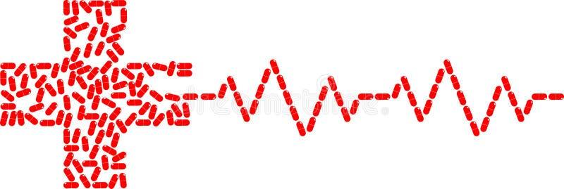 红色胶囊安排对红十字形状和心跳心电图传染媒介例证被隔绝的白色背景 皇族释放例证