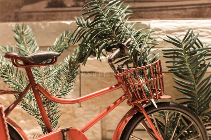 红色自行车和杉木分支 免版税库存照片