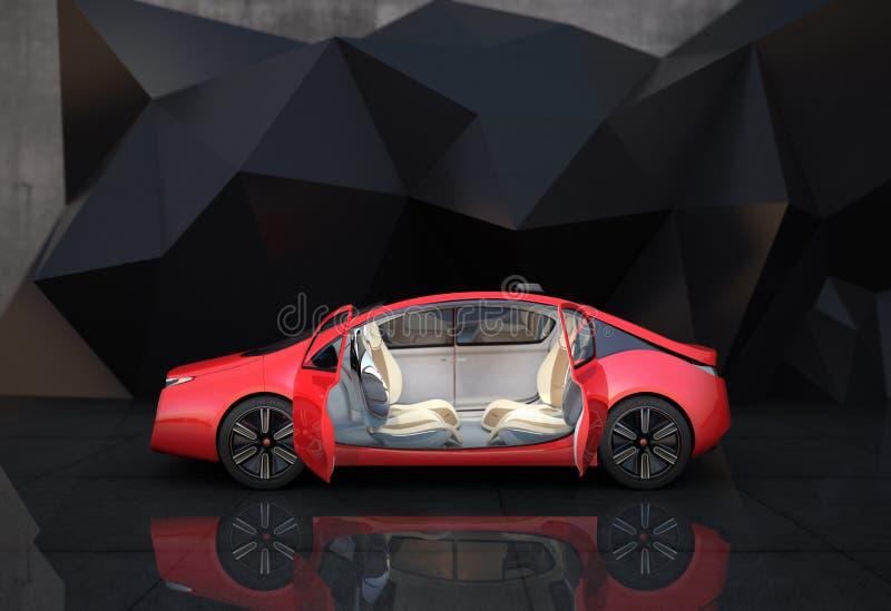 红色自治汽车侧视图在几何对象背景前面的 向量例证