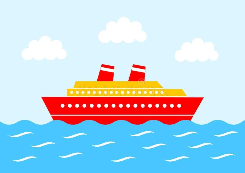 红色船 皇族释放例证