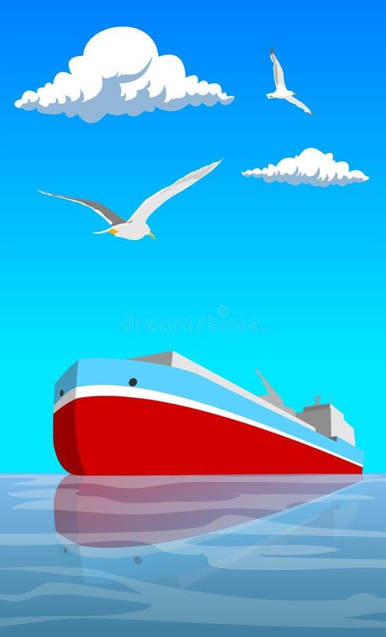 红色船 库存例证