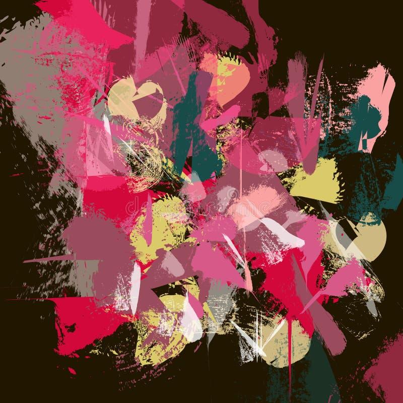 红色色的纹理 抽象maulti色的刷子冲程 向量例证