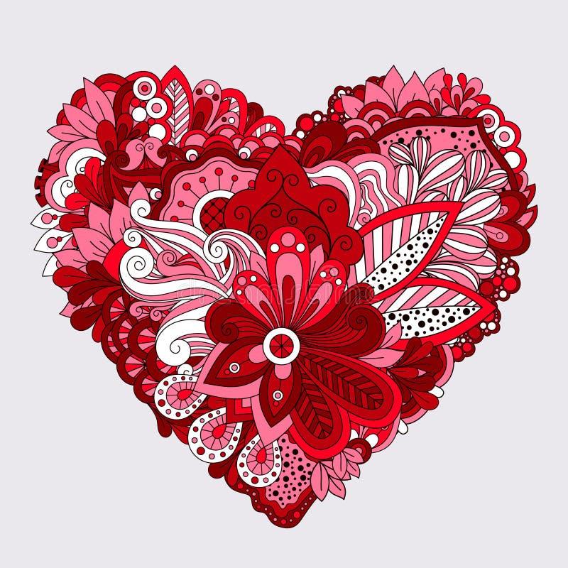 红色花卉心脏乱画装饰元素 皇族释放例证