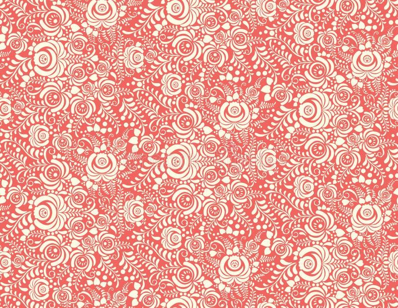 红色花卉纺织品传染媒介无缝的样式 皇族释放例证