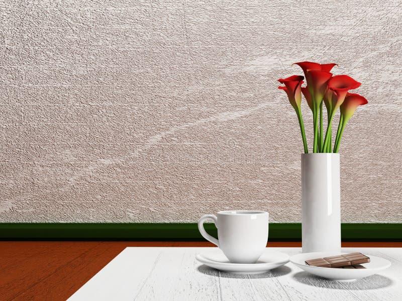 红色花和一个杯子在桌上 皇族释放例证
