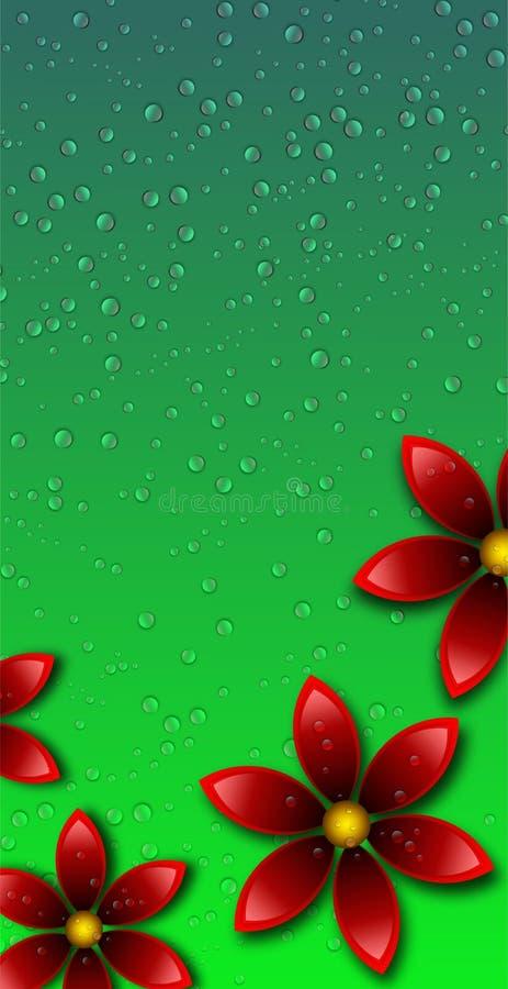 红色花在绿色背景中用水投下墙纸 库存例证