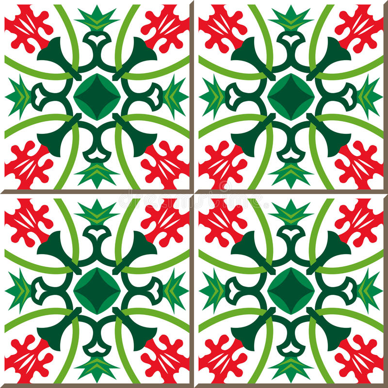 红色花葡萄酒无缝的墙壁瓦片绿化花苞 摩洛哥人,葡萄牙语 库存例证