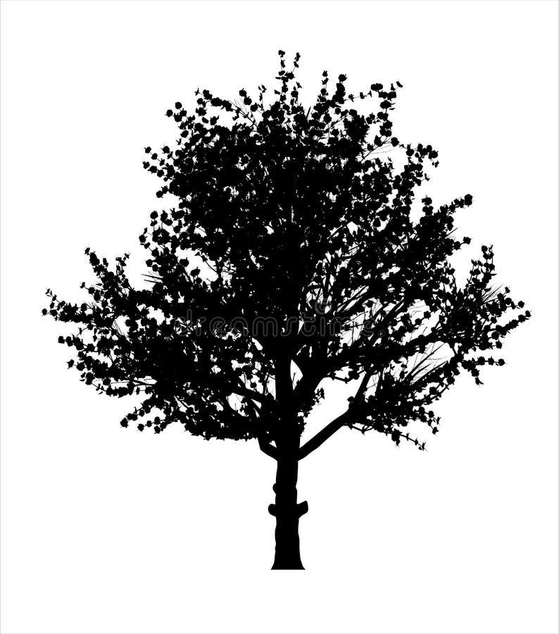 红色苹果树剪影 向量例证