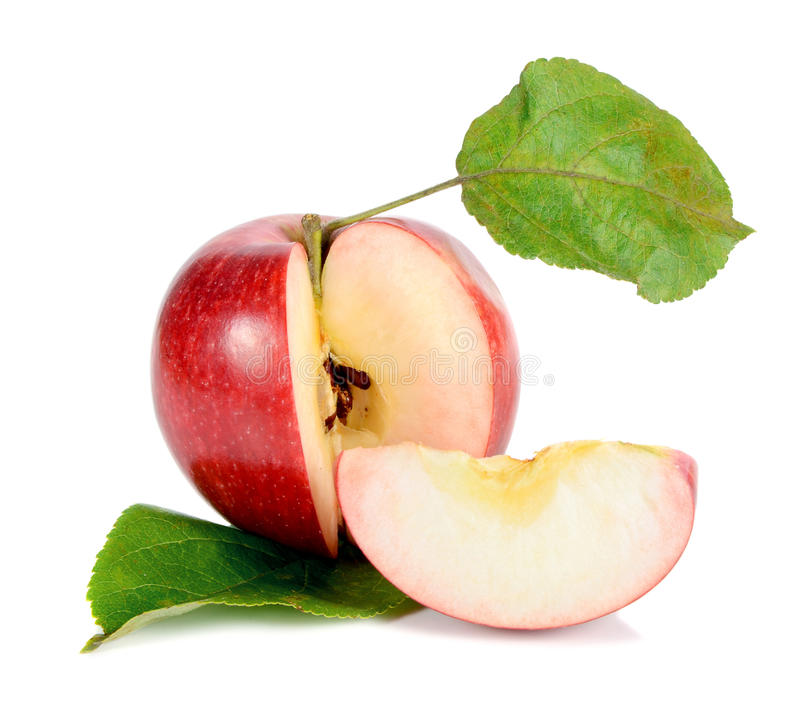 红色苹果绿的叶子 库存图片