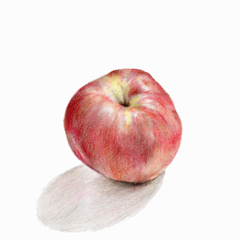 红色苹果画与色的铅笔 免版税库存图片