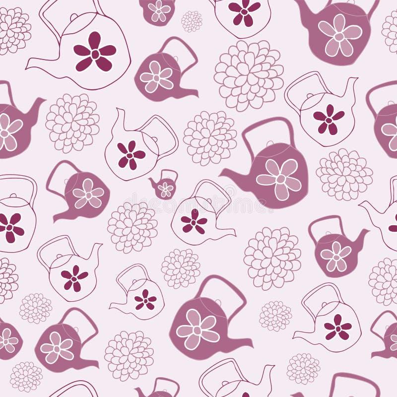 红色茶壶无缝的样式设计 向量例证