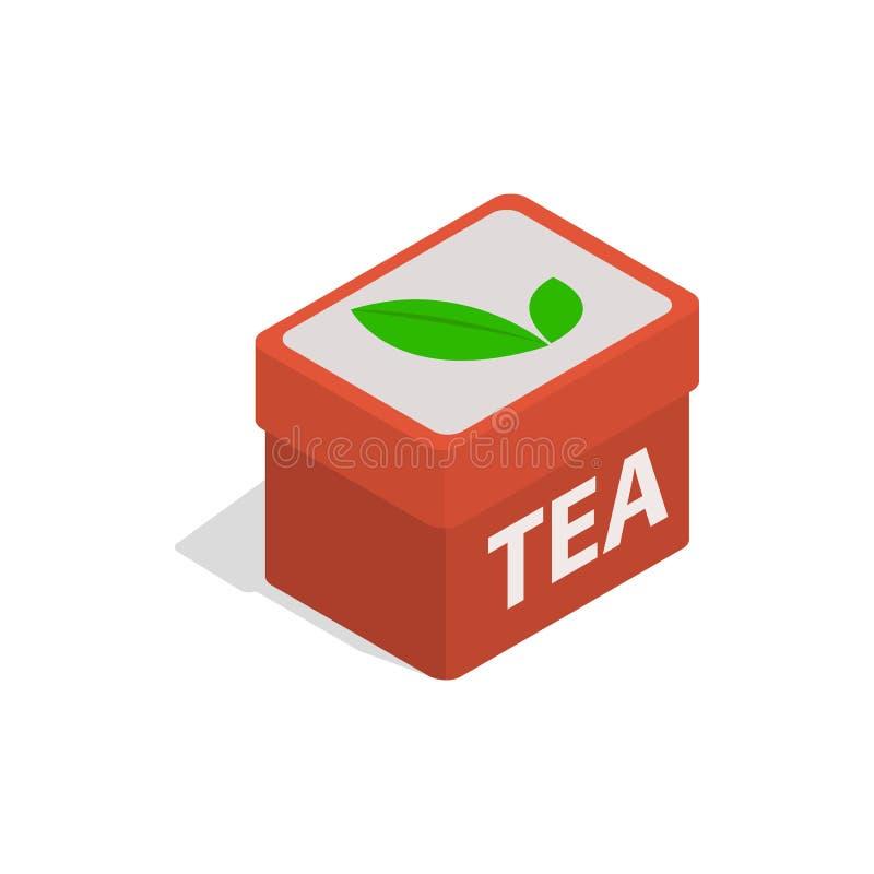 红色茶箱子象,等量3d样式 库存例证