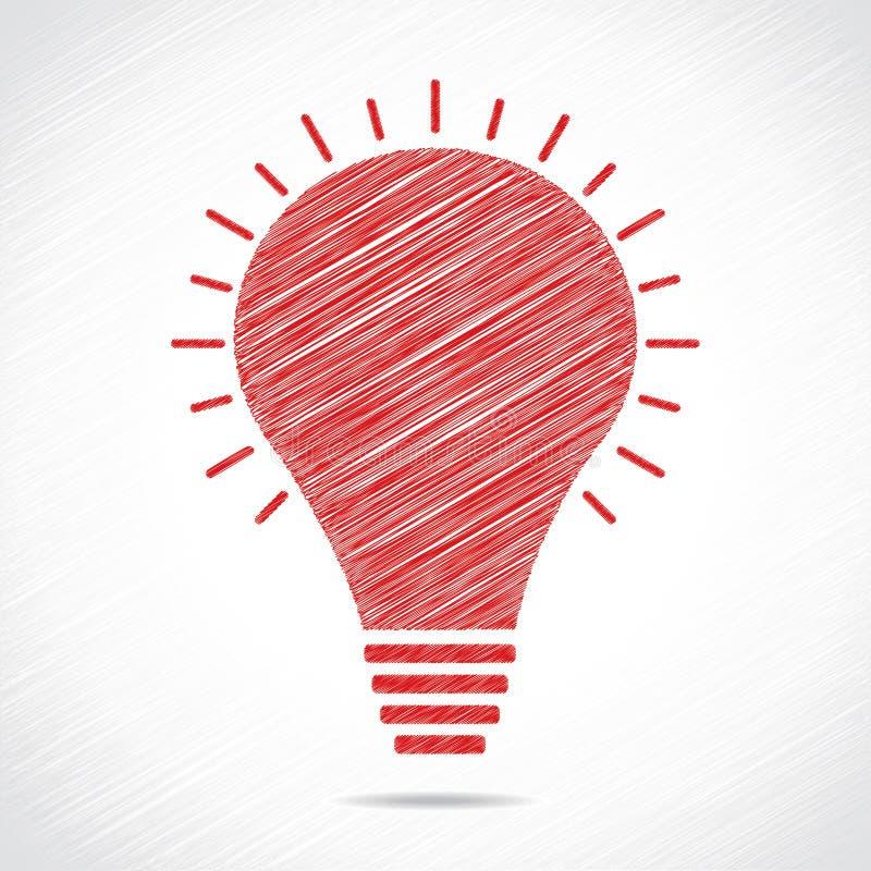 红色草图电灯泡设计 皇族释放例证