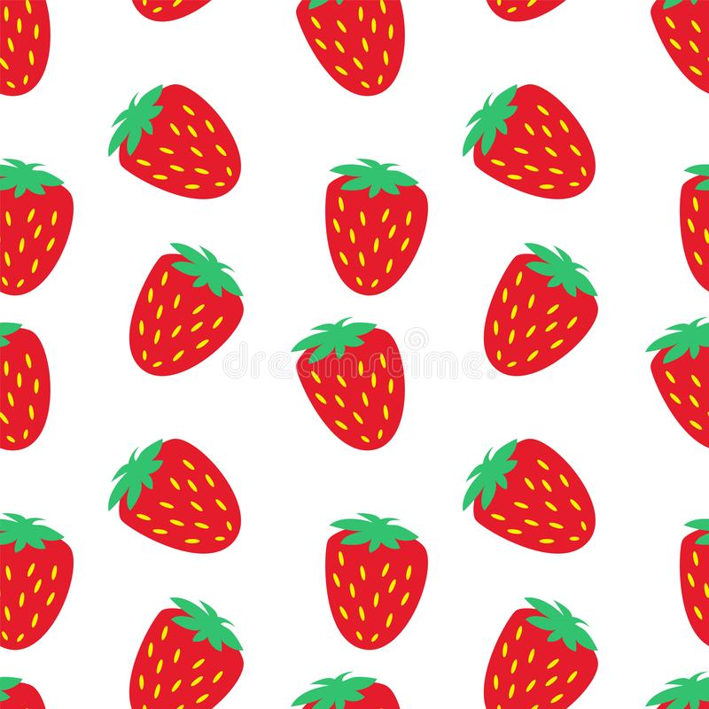 红色草莓季节果子纹理 抽象模式无缝的向量 库存例证