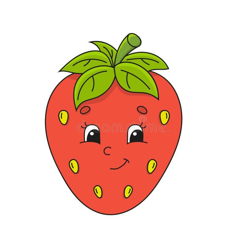 红色草莓 在幼稚动画片样式的逗人喜爱的平的传染媒介例证 滑稽的字符 背景查出的白色 皇族释放例证