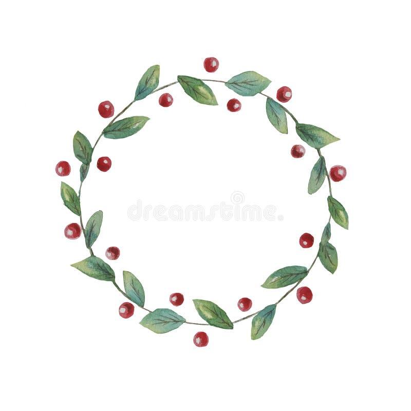 红色莓果和小叶子花圈适用于板材,邀请,卡片的装饰 皇族释放例证