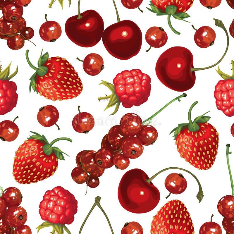 红色莓果无缝的样式 向量例证