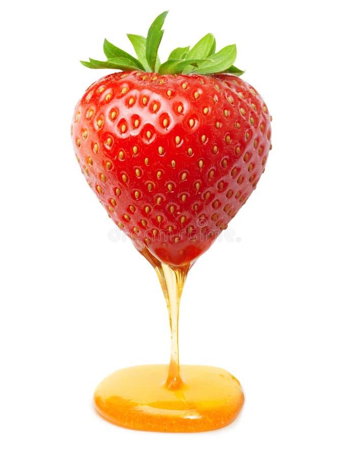 红色莓果草莓用焦糖或蜂蜜 库存图片