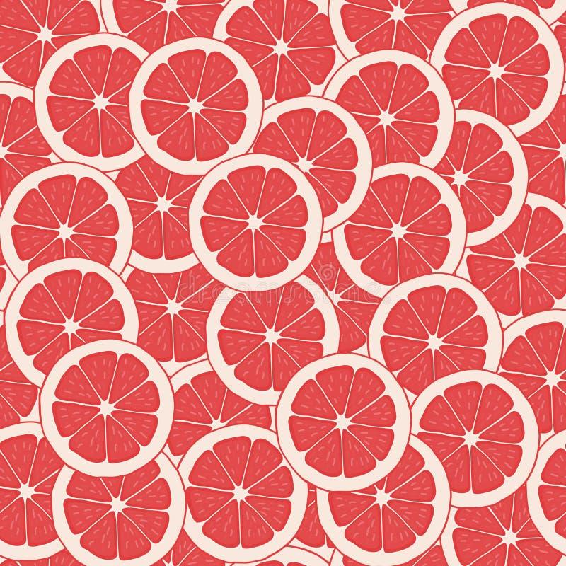 红色葡萄柚传染媒介 无缝的样式背景葡萄柚 片式葡萄柚 库存例证