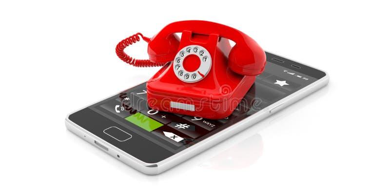 红色葡萄酒在白色背景隔绝的电话和现代智能手机 3d例证 皇族释放例证