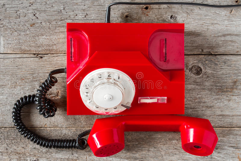 红色葡萄酒电话头等的视图 图库摄影
