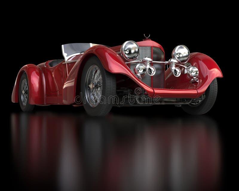 红色葡萄酒车的正面图特写镜头 库存图片