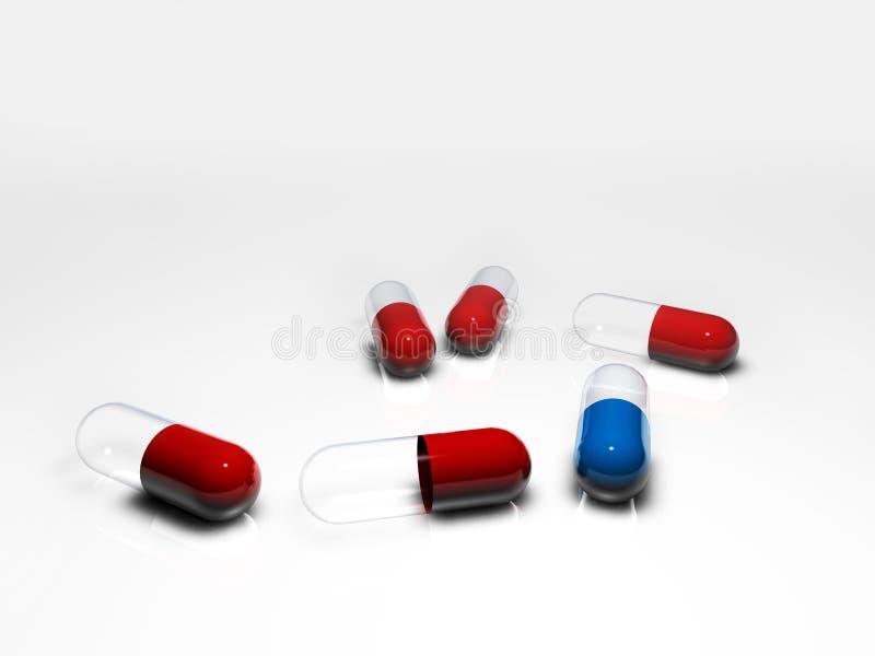 红色蓝色一的药片 库存例证