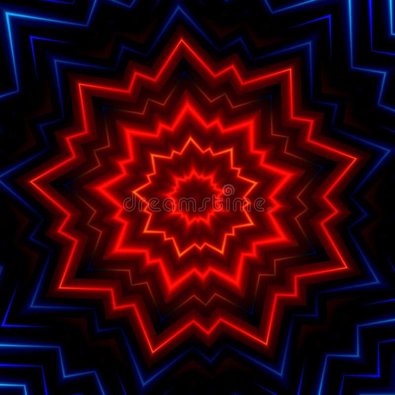 红色蓝色光爆炸闪光 热的发光的光芒 激光展示作用 做了许多星 发光的xmas闪闪发光 幻想样式盖子 装饰 皇族释放例证