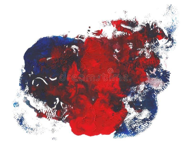 红色蓝色明亮的颜色丙烯酸漆摘要斑点 皇族释放例证