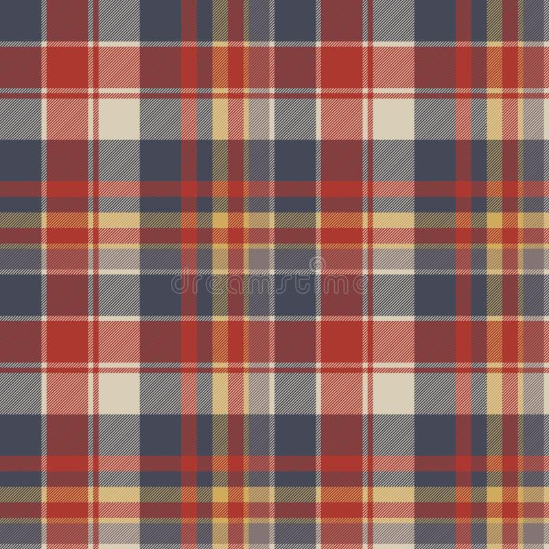 红色蓝色格子呢织品纹理无缝的样式 库存例证