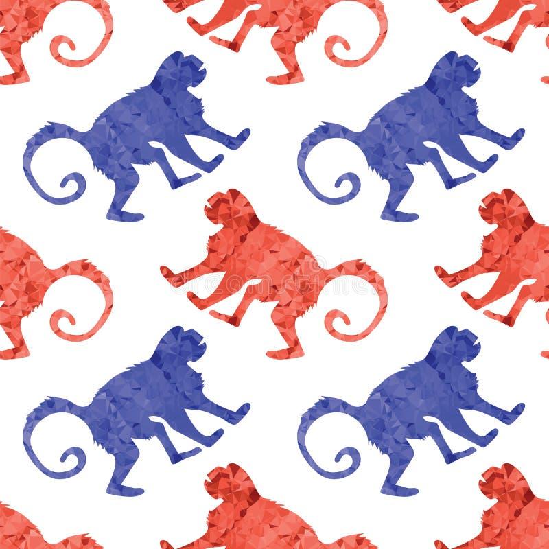 红色蓝色猴子无缝的样式 野生热带哺乳动物动物猿象 黄道带的标志 大猩猩多角形剪影 皇族释放例证
