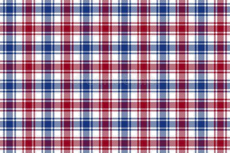 红色蓝色白色检查格子花呢披肩纹理无缝的样式背景 向量例证