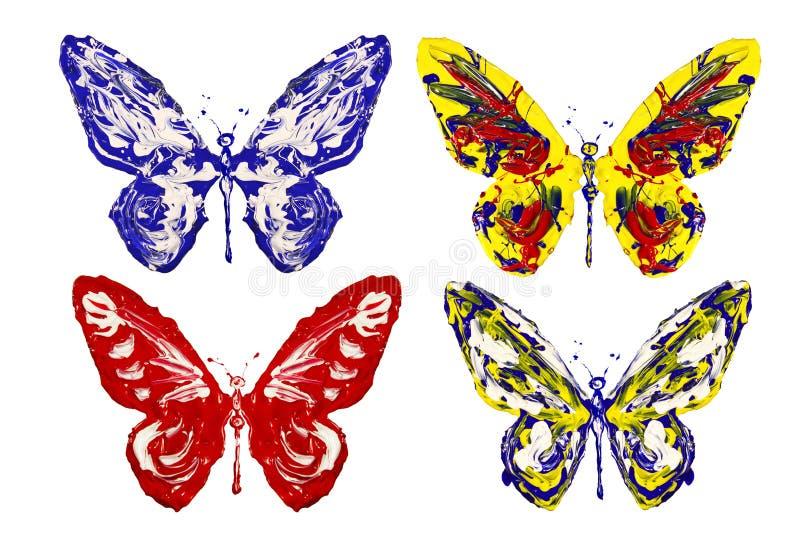 红色蓝色白色黄色油漆做了蝴蝶集合 向量例证