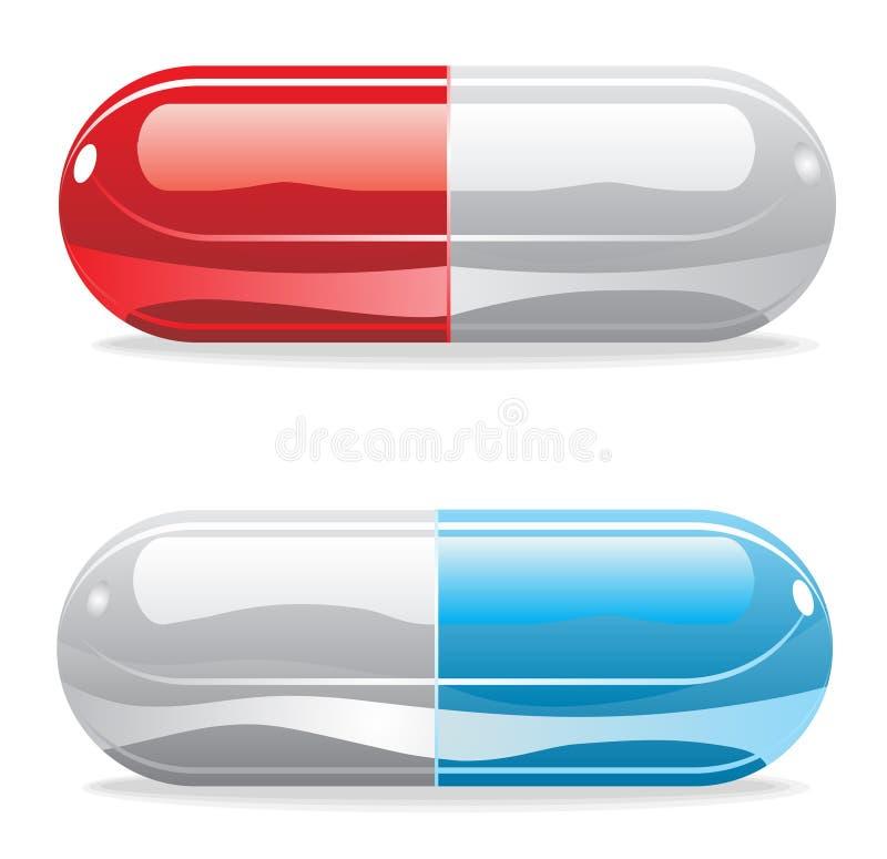 红色蓝色的药片 皇族释放例证