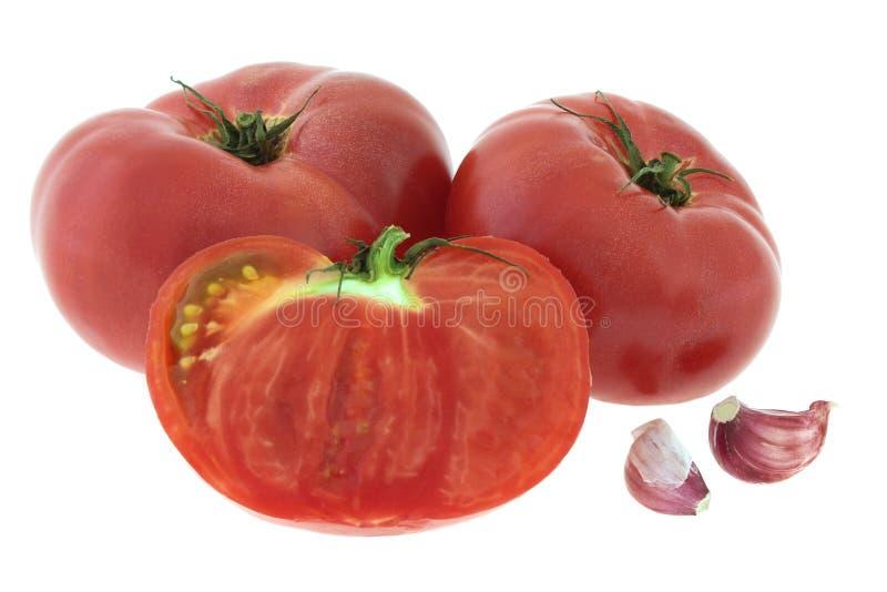 红色蕃茄用在白色背景隔绝的大蒜 免版税库存图片