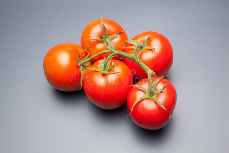 红色蕃茄,与表示生气勃勃和健康水的滴  库存图片