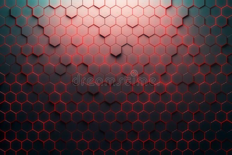 红色蜂窝样式 向量例证