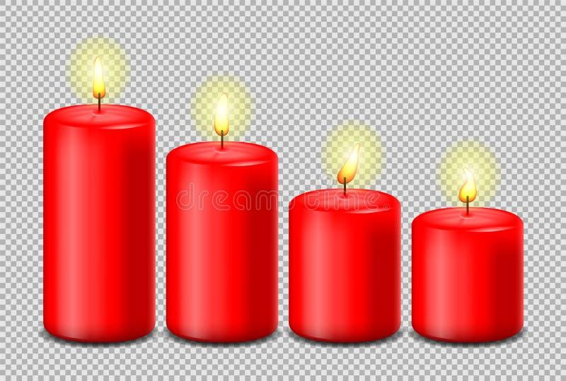 红色蜡烛被隔绝的被设置的传染媒介 向量例证