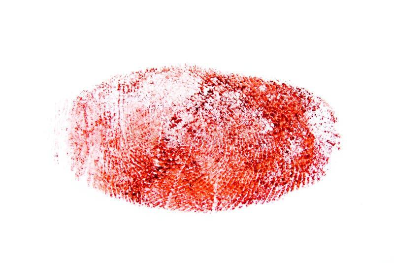 红色血淋淋的拇指印刷品 免版税库存照片