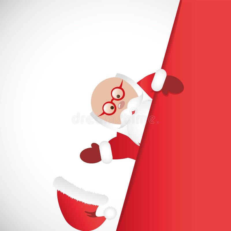 红色衣裳的圣诞老人有玻璃的丢失了盖帽 向量例证