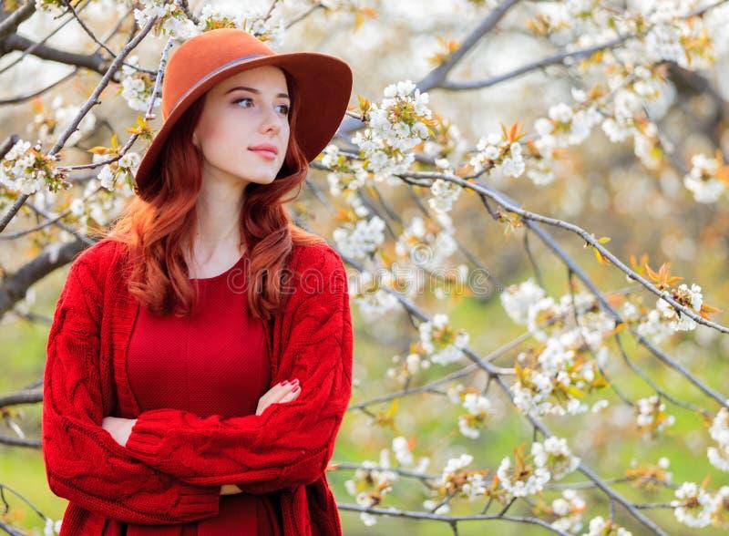 干色姑娘成人网_红色衣裳的女孩在开花樱桃庭院里. 成人, 公园.
