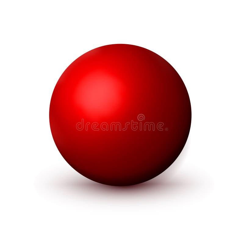 红色表面无光泽的球形,球 嘲笑干净的回合现实对象,柔软光滑的天体象 设计圆形,几何简单, 向量例证
