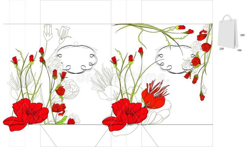 红色袋子装饰的花 向量例证