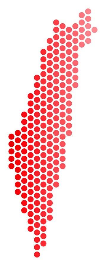 红色被加点的以色列地图 库存例证